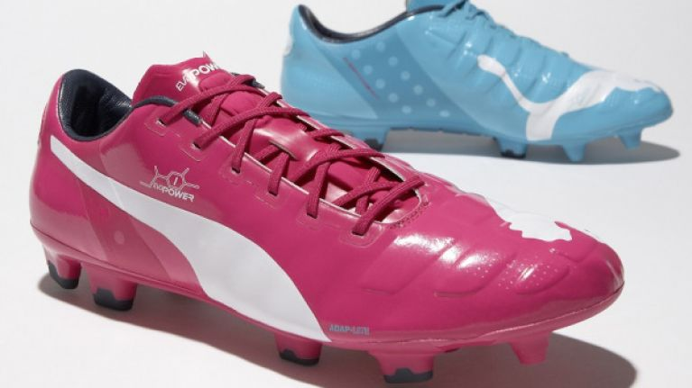 puma football shoes pink and blue