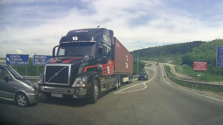 Holy sh*t! Incredible Russian dashcam proves just how good Volvo's braking system really is...