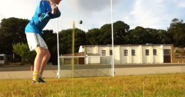 Vine: Teenage hurler from Antrim strikes the most nonchalantly brilliant crossbar challenge effort you'll ever see