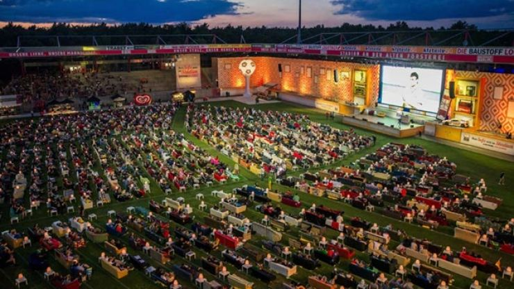 Pics: German football stadium turned into massive living room for watching World Cup matches