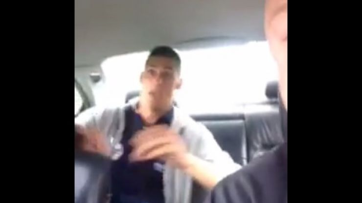 Video: Group of lads frighten their friend by screaming at him as he naps in the back of their car