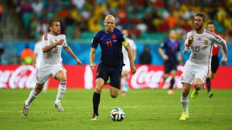 Arjen Robben ran faster than any footballer ever recorded on his way to score Holland's fifth against Spain