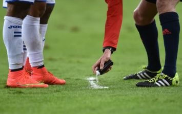 That's Gas – Pic: Waterford soccer club surely the first in the country to have a referee use vanishing spray in a match