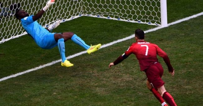 GIF: The Ghana 'keeper reacted to saving a Cristiano Ronaldo header like Brendan Bugler to winning a free