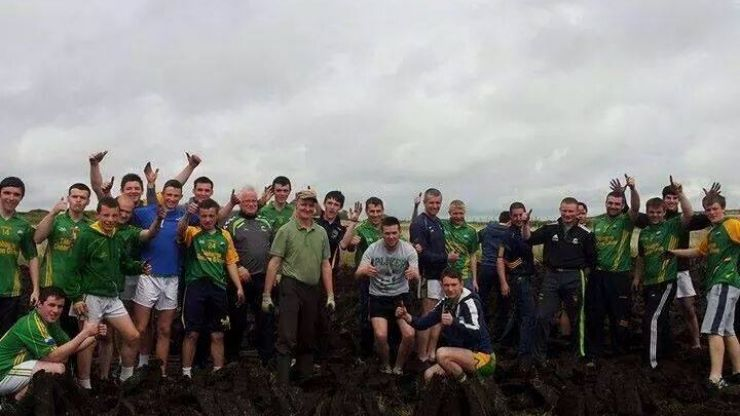 Pics: A bus full of players from a Donegal club team spotted a farmer turning turf alone in Galway so they all got out and gave him a hand