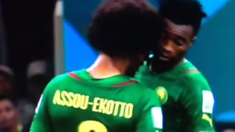 Vine: Benoit Assou-Ekotto head-butts his own team-mate as Cameroon crash out of the World Cup