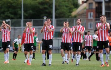 A most unfortunate 'looks like a hand is up a Derry City player's ass' Europa League pic of the day