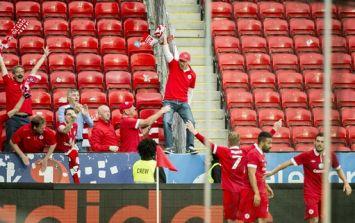 Sligo Rovers celebrate win over Norwegian side Rosenborg in the Europa League