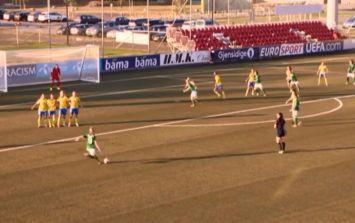 Video: Megan Connolly's stunning free-kick winner in Ireland women's under-19's brilliant win over Sweden last night