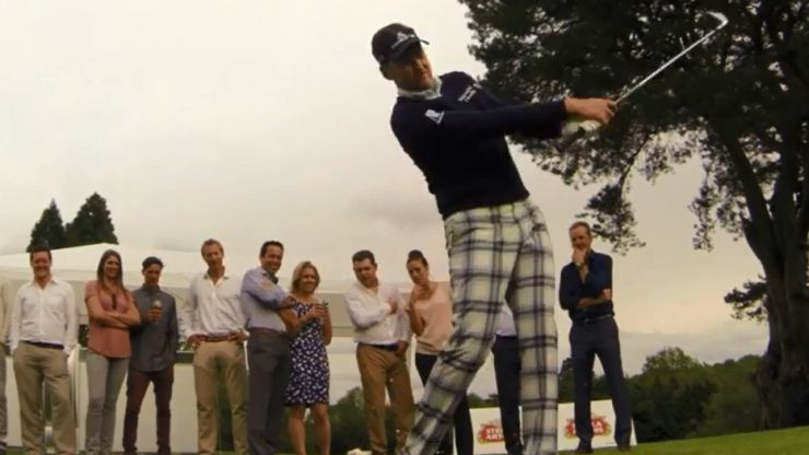 Video: Watch Ian Poulter skim the head off a glass of beer without actually breaking the glass