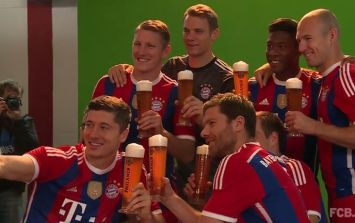 Pic: Bayern Munich go on the lash (in a very calm, responsible, sponsored kind of way)