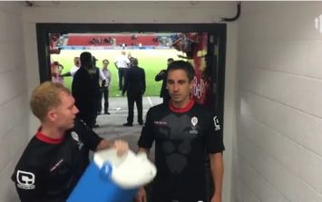 Video: Gary Neville and Paul Scholes get ice buckets dumped over their head