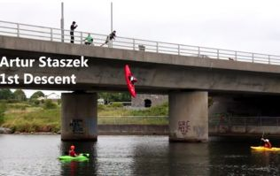 Video: Galway kayakers show off huge balls of steel as they jump off 40ft bridge into the water below