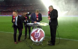 Vine: The ITV panel got absolutely soaked by the on-pitch sprinklers before the England game