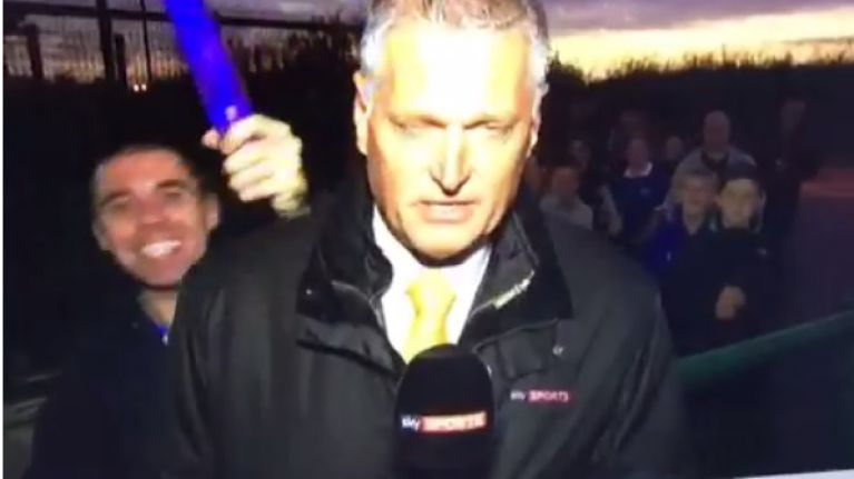 Vine: Nothing to see here, just an Everton fan waving a dildo on Sky