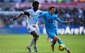 Vine: Wilfried Bony's magnificent nutmeg on Vlad Chiriches was a thing of beauty