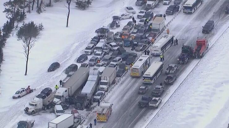 Pics: Incredible pictures show the damage caused by massive pile-up in Canada