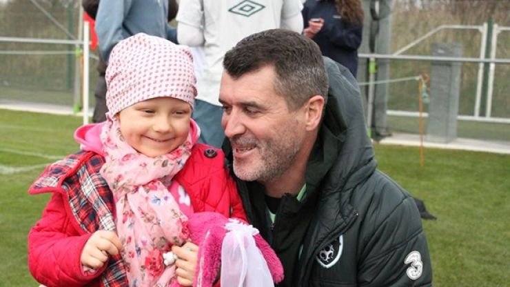 Pics: Roy Keane shows his caring side as young cancer patient visits the Irish camp