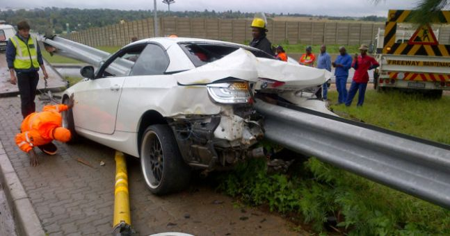 Pics: South African football player impaled car on ...