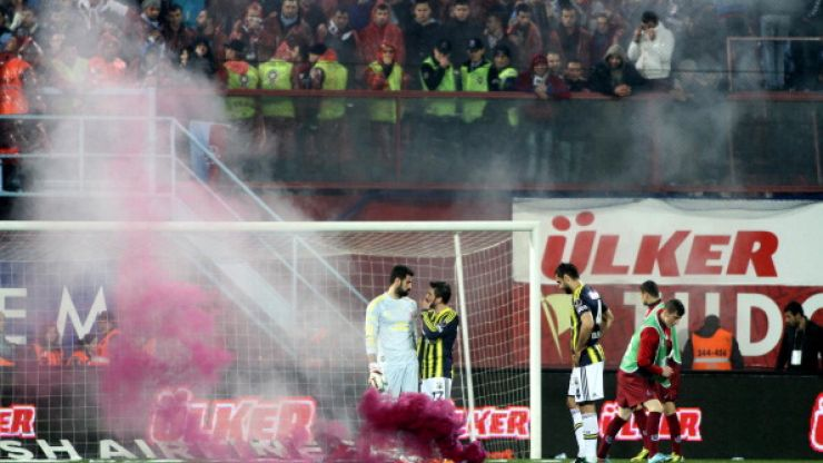 Video: Match abandoned in Turkey as fans throw bricks and flares at players