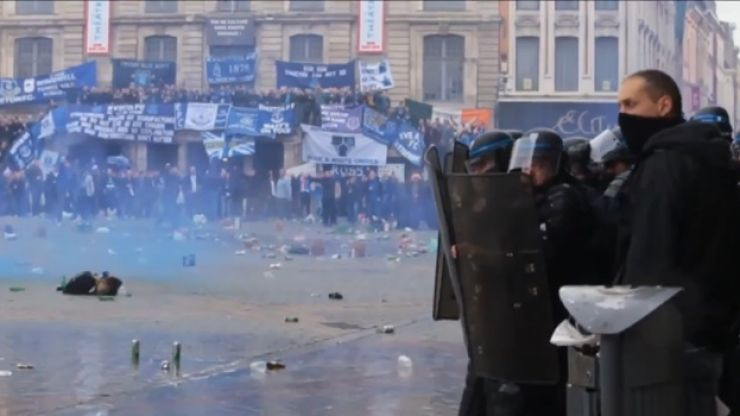 Video: Footage emerges of the trouble between football fans and the French police in Lille