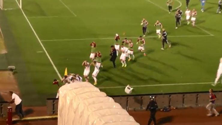 Video: Truly shocking scenes of violence and chaos from the abandoned Albania v Serbia game last night