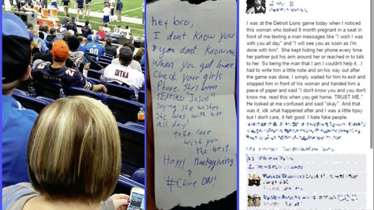 NFL fan exposes random stranger's cheating partner at a game