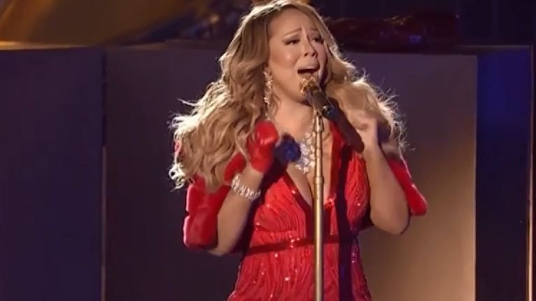 video mariah carey performed her famous christmas song live in new york last night and