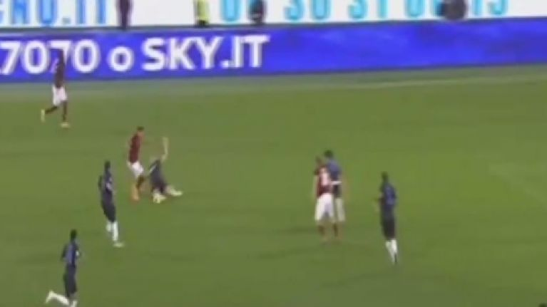 Video: Jose Holebas scored a screamer for Roma and was then involved in a really weird celebratory thing