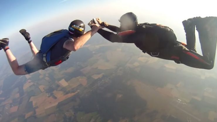 Video: A guy dropped his GoPro on a 3,000 feet skydive and it kept recording