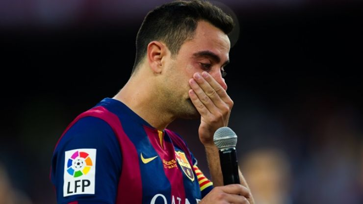 Video: We're crying watching Xavi cry during his emotional send-off at the Nou Camp today