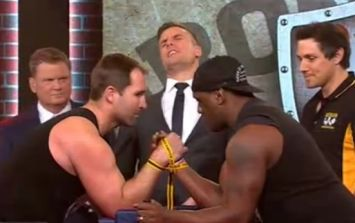 Video: Rugby players breaks arm on live TV in this NSFW arm-wrestling challenge