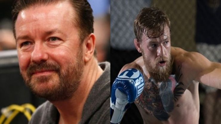 """Pic: Ricky Gervais needs curse words to illustrate his admiration for """"mighty"""" Conor McGregor"""