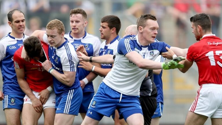 Pic: Monaghan's Darren Hughes and his puppy taunt Tyrone's Tiernan McCann