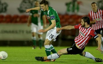 VINE: Derry City's Ryan McBride with one of the strangest tackles that you'll ever see