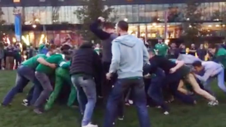 VIDEO: A massive game of drunken rugby broke out among Irish fans after the Ireland match at Wembley