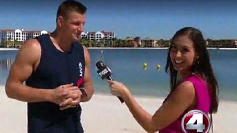 Video: Super Bowl winner Rob Gronkowski awkwardly flirting with a female TV reporter