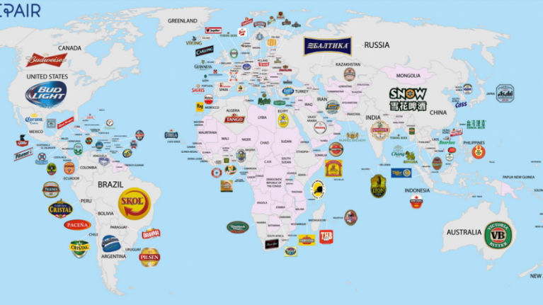 Pic: This big-ass map features the most popular beers in over 100 countries | JOE is the voice ...