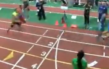 Video: Girl gets absolutely obliterated at the finishing line by incoming sprinters during this race