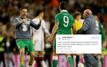 VIDEO: Justin Bieber posts footage sent to him by Robbie Keane of the Irish team bus after victory over Germany