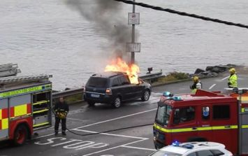 VIDEO: Frightening footage of the moment a car exploded in Cork today