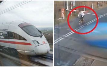 VIDEO: Cyclist escapes serious injury after colliding with a high-speed train
