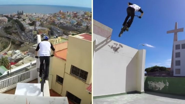 VIDEO: Amazing footage of this guy crossing the rooftops of Gran Canaria on a bike