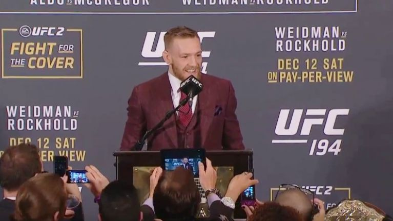 VIDEO: Conor McGregor reveals what he said to Jose Aldo after he knocked him out