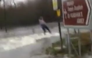 VIDEO: A girl wakeboarding around the flooded roads of Tipperary