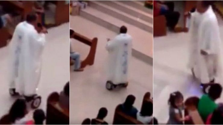 VIDEO: Priest suspended after saying mass while riding around on a hoverboard