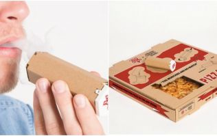 After you've eaten this pizza you can make a pipe out of the box
