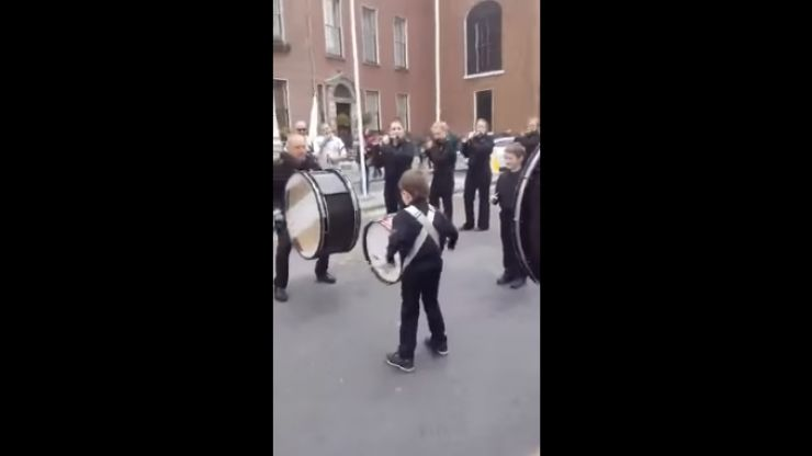 VIDEO: 6-year-old drummer absolutely steals the show at 1916 commemoration