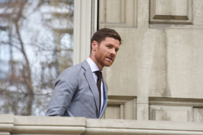MADRID, SPAIN - APRIL 03:  Real Madrid player Xavi Alonso presents the new  Emidio Tucci collection at Casa de America on  on April 3, 2014 in Madrid, Spain.  (Photo by Carlos Alvarez/Getty Images)