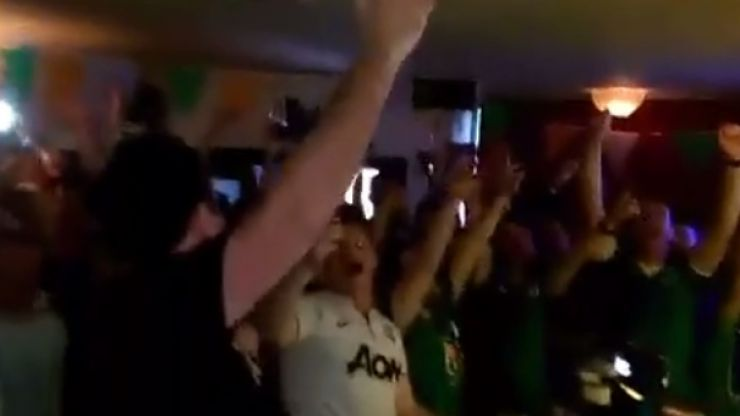 """VIDEO: Irish fan sings 'The Fields of Athenry' in """"French"""" to a raucous Sligo pub after the Ireland game"""